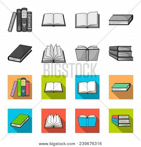 Various Kinds Of Books. Books Set Collection Icons In Monochrome, Flat Style Vector Symbol Stock Ill