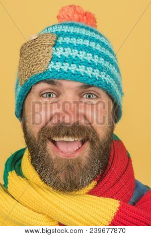 Cheerful Man With Beard And Mustache Wearing Fashionable Scarf And Hat. Male Winter Fashion. Handsom