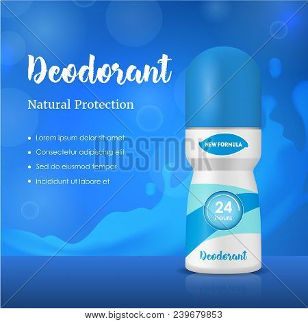 Realistic Detailed 3d Antiperspirant Deodorant Composition Ads Promotion And Advertising Concept Car