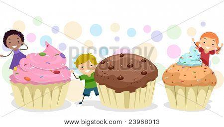 Abbildung der Kinder spielen unter riesigen Cupcakes