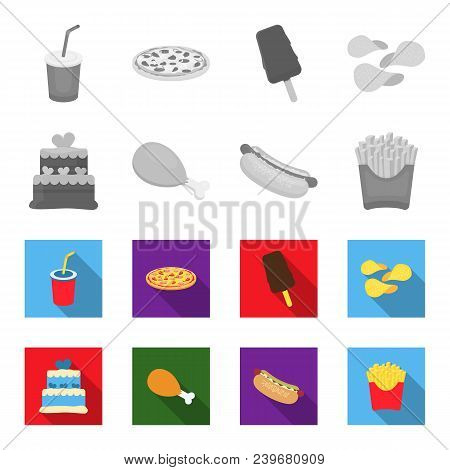 Cake, Ham, Hot Dog, French Fries.fast Food Set Collection Icons In Monochrome, Flat Style Vector Sym