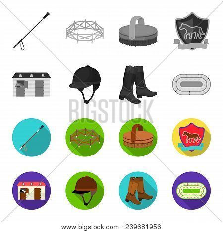 Boots, Grass, Stadium, Track, Rest .hippodrome And Horse Set Collection Icons In Monochrome, Flat St