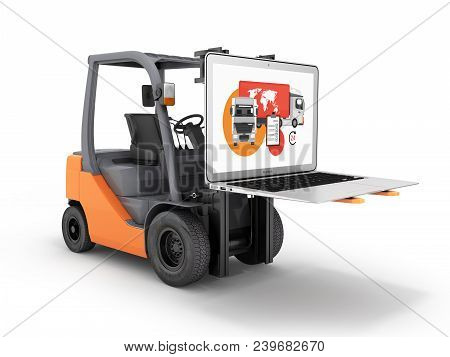 Concept Logistics Of Loading And Delivery The Forklift Lifts The Laptop Isolated On White Background
