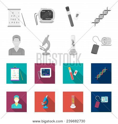 Plant In Vitro, Nurse, Microscope, Tonometer. Medicine Set Collection Icons In Monochrome, Flat Styl