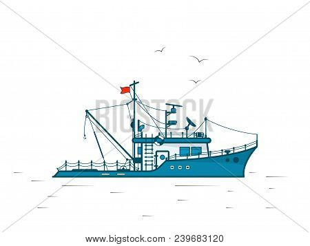 Fishing Boat In The Style Of Flat Design