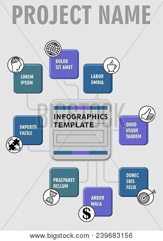 Infographic Process Visualization Template, Abstract Vector With Square Embossed Elements, Icons And