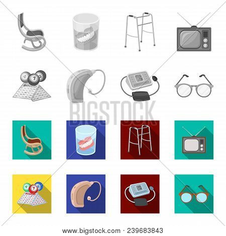 Lottery, Hearing Aid, Tonometer, Glasses.old Age Set Collection Icons In Monochrome, Flat Style Vect