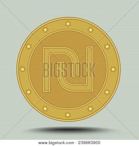 Israeli Currency Shekel, Embossed Symbol In Circle Gold Metallic Coin Shape Isolated On Gray Backgro