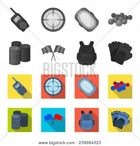 Protective Vest, Gloves And Other Equipment. Paintball Single Icon In Monochrome, Flat Style Vector