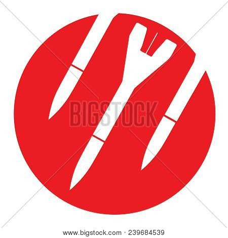 Icon Bomb Attention Red Round Symbol With Three White Falling Rockets Inside Ban On Nuclear Weapons