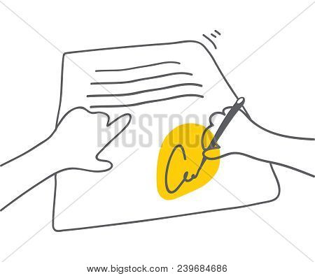 Signing Document Man Signing Document With Yellow Accent On Signature Vector Flat Linear Illustratio
