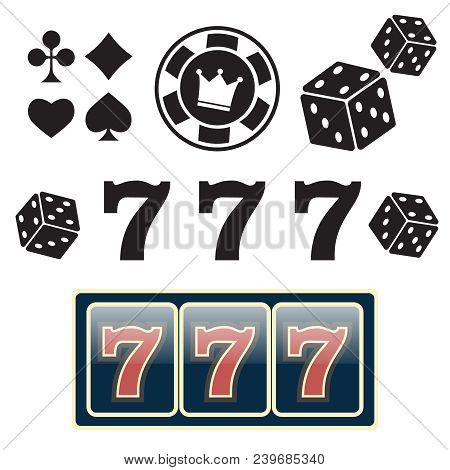 Casino Vector Sign Set. Slot Machine Symbols. Lucky Seven