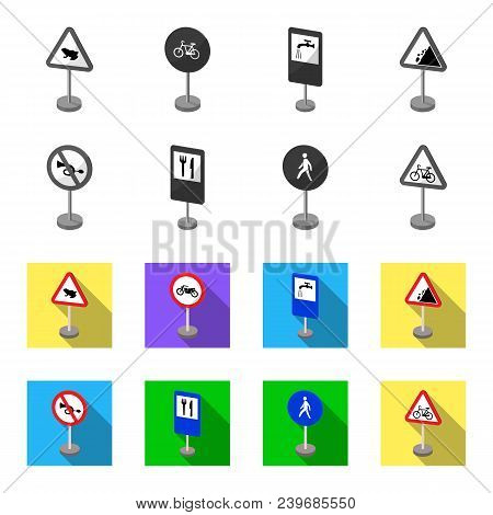 Different Types Of Road Signs Monochrome, Flat Icons In Set Collection For Design. Warning And Prohi