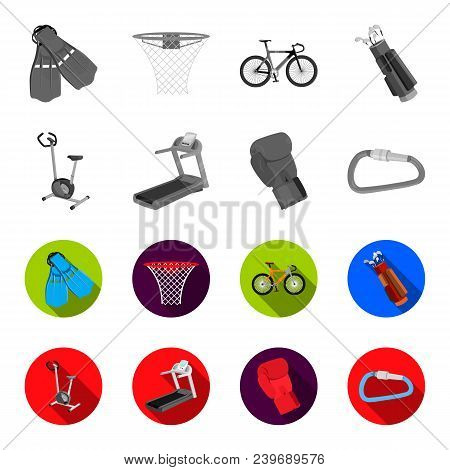 Exercise Bike, Treadmill, Glove Boxer, Lock. Sport Set Collection Icons In Monochrome, Flat Style Ve