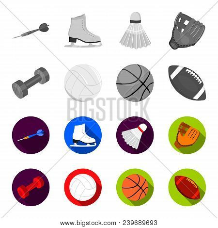 Blue Dumbbell, White Soccer Ball, Basketball, Rugby Ball. Sport Set Collection Icons In Monochrome,