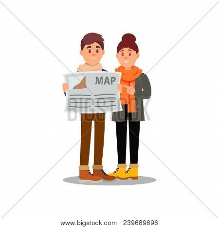 Young Guy And Girl Looking At Map. Couple Of Tourists On Vacation. Family Traveling. Cartoon People