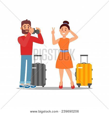 Guy Taking Photo Of His Girlfriend. Tourists With Suitcases On Wheels. Young Couple On Vacation. Car