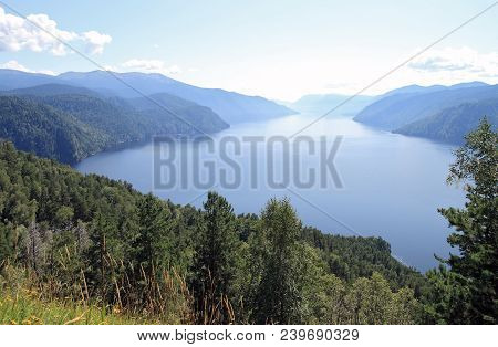 Russia.siberia.kind On Lake Teletskoe From Mountain Chichilgan. View Of The Southern Part Of The Lak