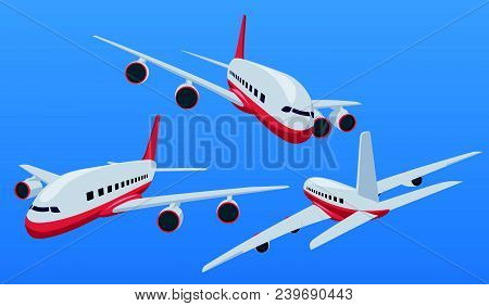Charter Airplane In Various Point Of View. Passenger Plane In A Flat 3d Style. Private Plane Charter