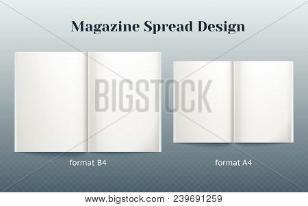 Double Page Spread Magazine Design. Two Isolated Templates Of The B4 And A4 Format. Double Page Vect