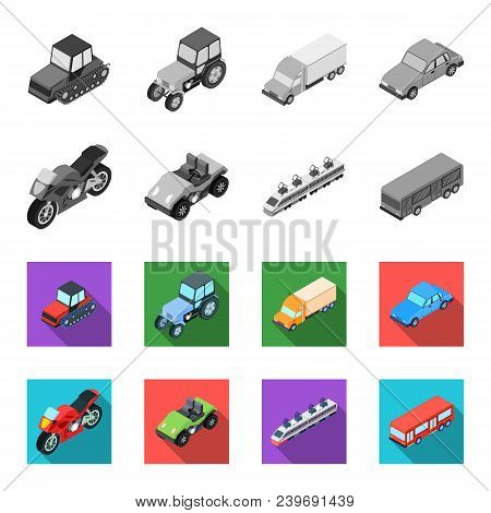 Motorcycle, Golf Cart, Train, Bus. Transport Set Collection Icons In Monochrome, Flat Style Vector S