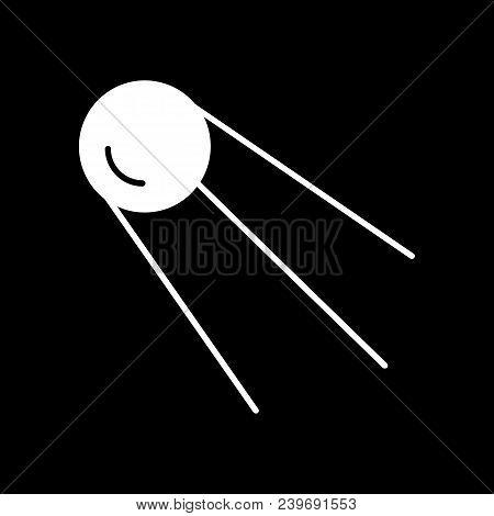 Satellite Icon. Silhouette Satellite Vector Icon For Web Design Isolated On Black Background