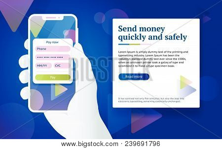 Credit Card Payment App. Money Transfer Design Concept. Pay By Smartphone. Man With Phone In Hand. O