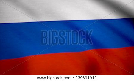 Colorful Russia Flag Waving In The Wind. Flag Of Russia Background.