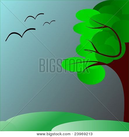 Green tree in the dark skies and meadows