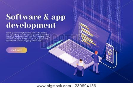 Development Of Software And Mobile App. Program Code On Laptop And Phone Screen. Launch A New Produc