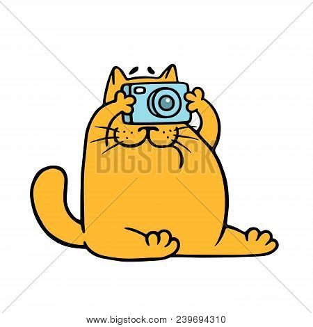 Cartoon Orange Cat With Camera Is Taking Pictures. Vector Illustration. Pet Photographer Character.
