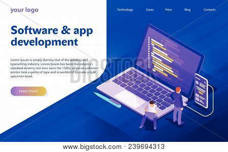 Development Of Software And Programming. Program Code On Computer Screen And Phone Screen. Launch A