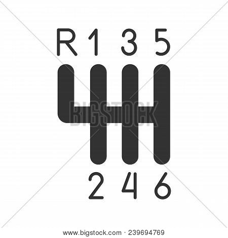 Gear Stick Glyph Icon. Gearshift. Silhouette Symbol. Negative Space. Vector Isolated Illustration