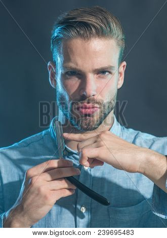 Brutal Caucasian Hipster With Beard And Moustache, Bearded Man With Long Beard, Holds Dangerous Razo