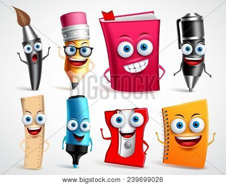 School Characters Vector Illustration Set. Education Items 3d Cartoon Mascots Like Pencil And Book F