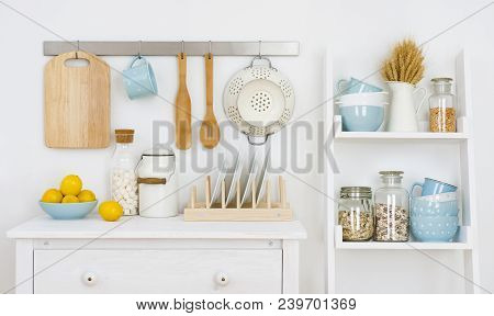 Kitchen Wall Decorated Interior With Cabinet And Shelf With Utensils