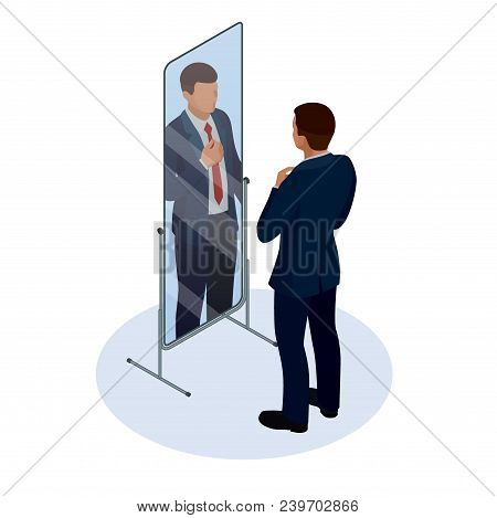 Isometric Businessman Adjusting Tie In Front Of The Mirror. Man Checking His Appearance In The Mirro