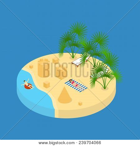 Beach Vacation Element 3d Isometric View On A Blue Background. Vector Illustration Of Rest With Sand