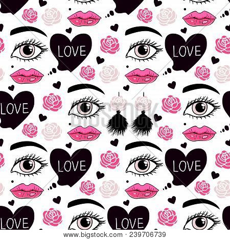 Seamless Pattern Girl With Tassel Earrings And Speech Love. Vector Illustration Isolated On White Ba