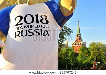 Moscow, Russia - May 08: Official Mascot Zabivaka Of Fifa World Cup 2018 And Moscow Kremlin, Russia