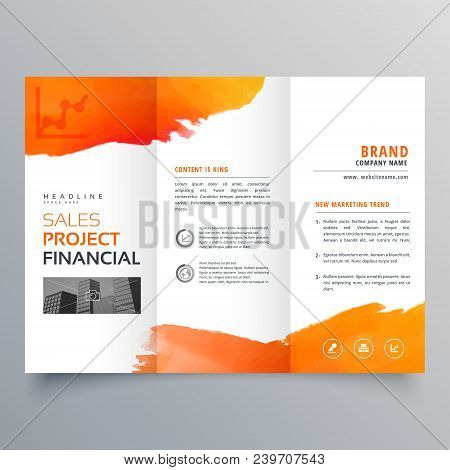 stylish creative business trifold brochure template with orange ink design poster