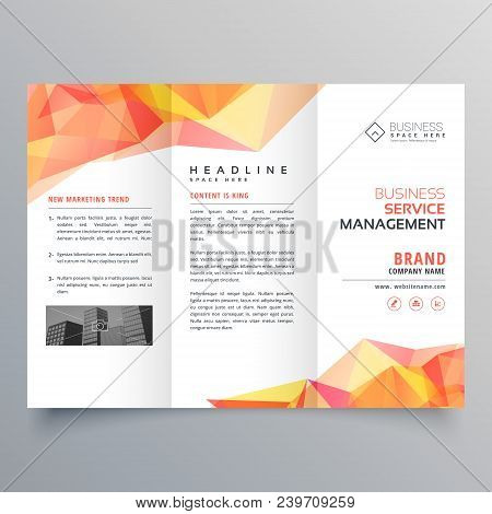 abstract polygonal orange shapes trifold brochure design poster