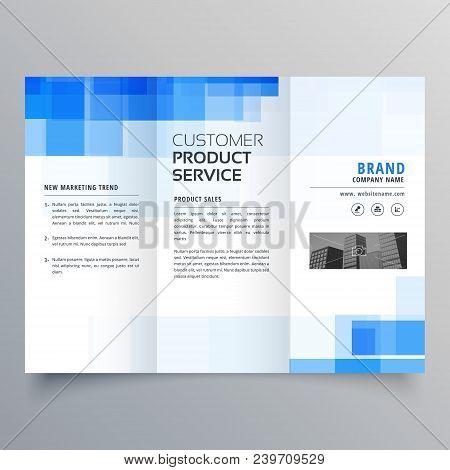 blue square geometric trifold brochure design template poster