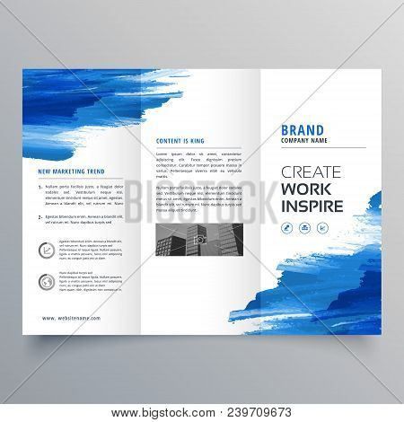 abstract watercolor business trifold brochure design template poster