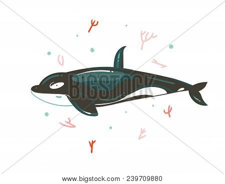 Hand Drawn Vector Abstract Cartoon Graphic Summer Time Underwater Illustrations With Coral Reefs And