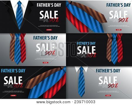 Set Of Father's Day Sale Banners, Greeting Card With Necktie. Vector Illustration.