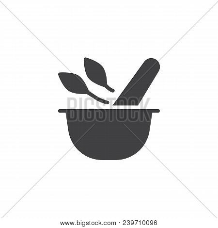 Mortar And Pestle With Herbal Leaf Vector Icon. Filled Flat Sign For Mobile Concept And Web Design.