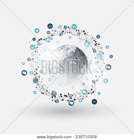 Internet Of Things, Cloud Computing Design Concept With Icons - Digital Network Connections, Technol