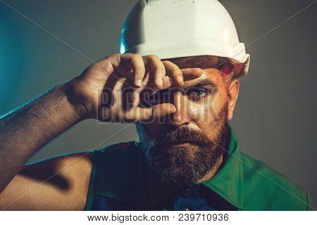 Hard Work. Builder Working With Construction Helmet. Portrait Architect Builder On Construction Site