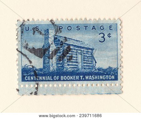 Leeds, England - May 6 2018: An Old Blue American Postage Stamp Celebrating The Centennial Of Africa